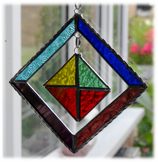RESERVED Rainbow Mobile Suncatcher Stained Glass Suncatcher Square 001