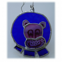 Hippo Suncatcher Stained Glass Blue 003