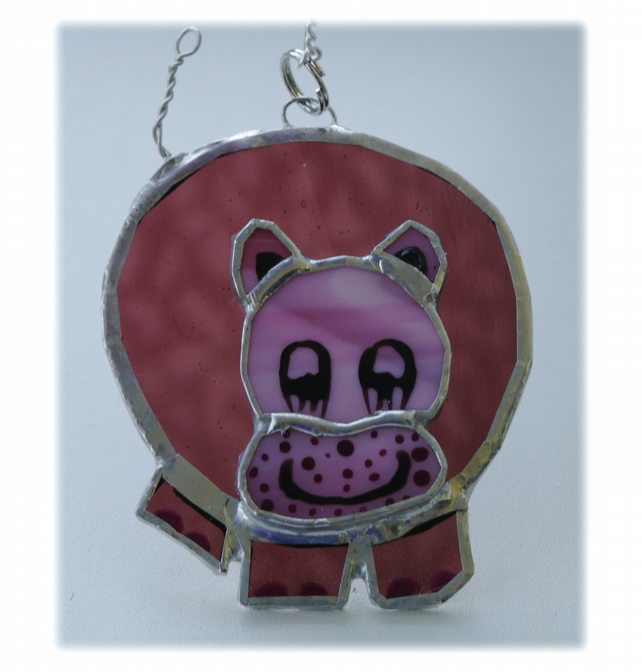Hippo Suncatcher Stained Glass Purple 002