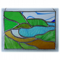 Seascape Cove Panel Stained Glass Picture Landscape 008
