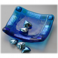 Fused Glass Trinket Dish 9.5cm Turquoise Dichroic Bordered 022