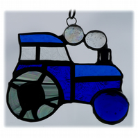 Tractor Suncatcher Stained Glass Blue Handmade 039
