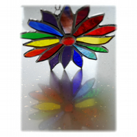 Rainbow Flower Stained Glass Suncatcher 048