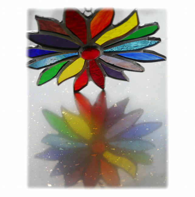 Rainbow Flower Stained Glass Suncatcher 049