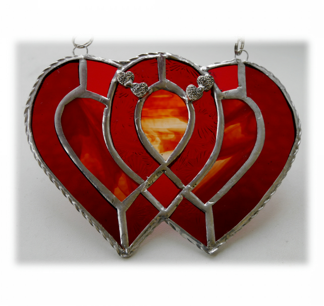RESERVED Entwined Heart Suncatcher Stained Glass Red Ruby Wedding 008
