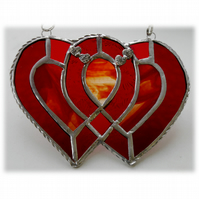Entwined Heart Suncatcher Stained Glass Red Ruby Wedding 008