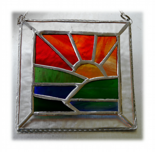 Setting Sun Picture Suncatcher Stained Glass Handmade Sunset 027