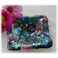 Fused Dichroic Glass Trinket Dish Aqua Pink