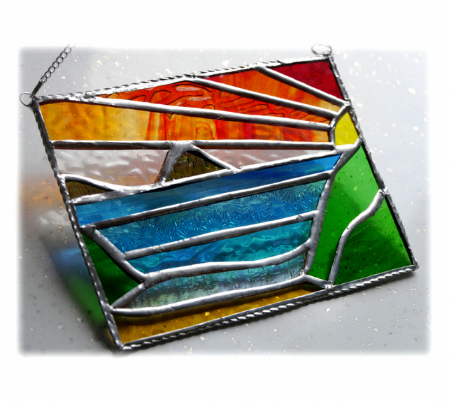 Sea View Panel Stained Glass Picture Landscape Sunset  003