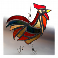 Cockerel Suncatcher Stained Glass chicken 020