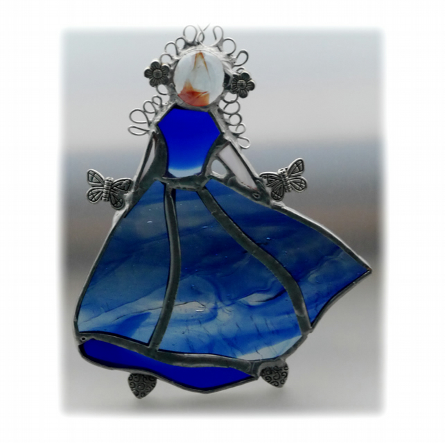 Princess Suncatcher Stained Glass Cinderella Dancer Blue 010
