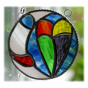Moon Heart Stained Glass Suncatcher Rainbow 004