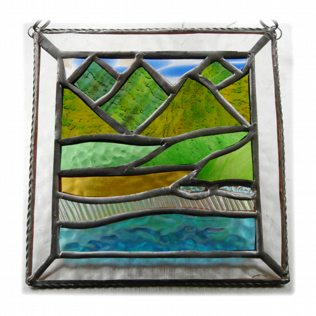 Picos Mountains Picture Suncatcher Stained Glass 003