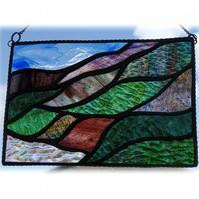Scottish Mountains Panel Stained Glass Picture Landscape 005