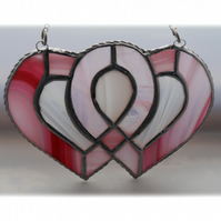 Entwined Heart Suncatcher Stained Glass Pink Personalised Wedding 009