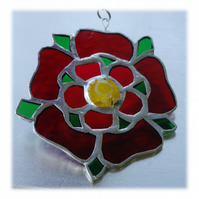 Lancashire Rose Suncatcher Stained Glass Red Handmade 035