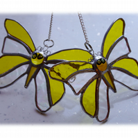 RESERVED 2 YELLOW BUTTERFLY SUNCATCHERS Stained Glass
