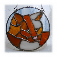 Cat Suncatcher Stained Glass Ring Ginger and White 017
