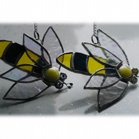RESERVED 2 Bee Suncatcher Stained Glass Bumble Queen 021 022