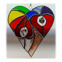 Heart of Hearts Suncatcher Rainbow Stained Glass