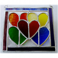 Rainbow Hearts Picture Stained Glass Suncatcher