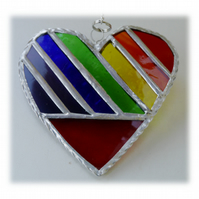Love Heart  Rainbow Stained Glass Suncatcher Diagonal 018
