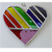Love Heart  Rainbow Stained Glass Suncatcher Diagonal 017