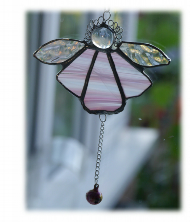 Angel Bell Suncatcher Stained Glass Pink 038
