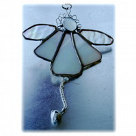 Angel Bell Suncatcher Stained Glass White 039