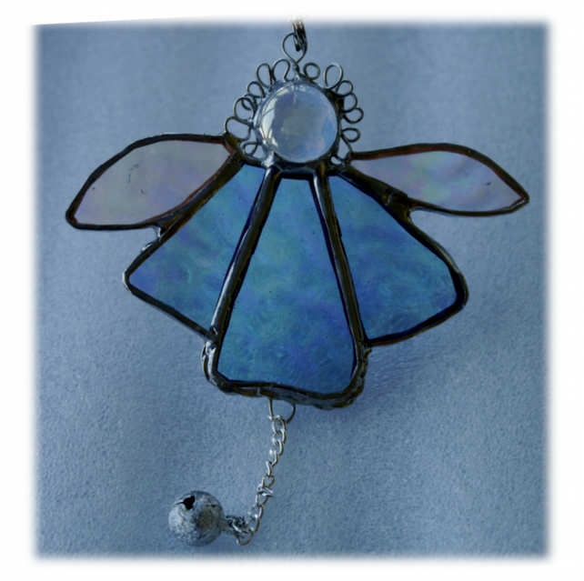 Angel Bell Suncatcher Stained Glass Pale Blue 040