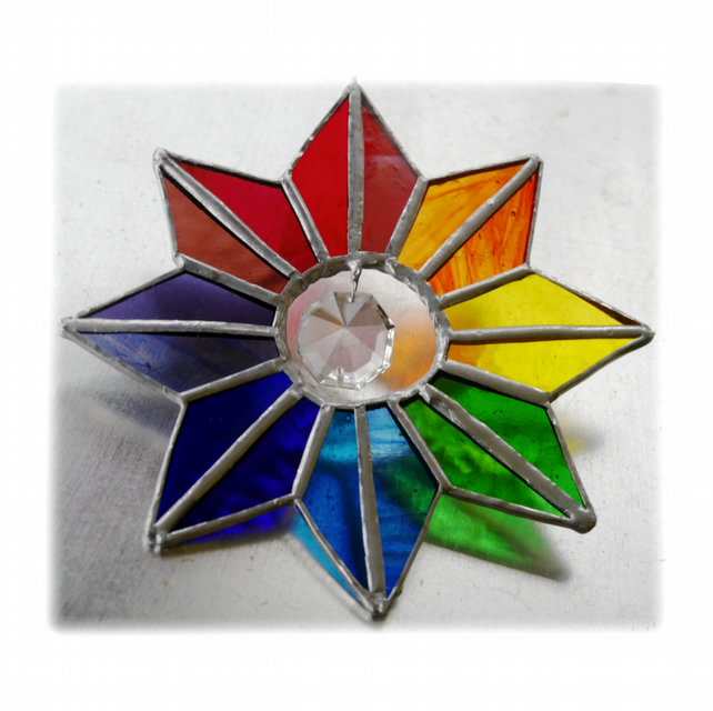 Star Rainbow Crystal Stained Glass Suncatcher 005