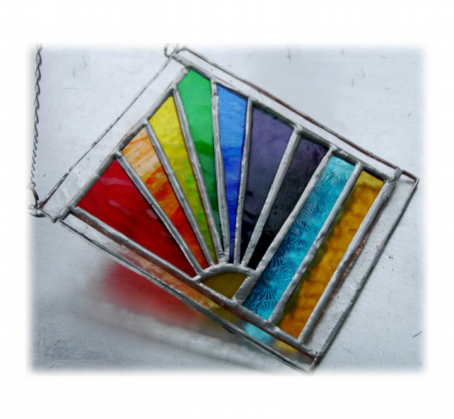Rainbow Beach Stained Glass Suncatcher Handmade 019