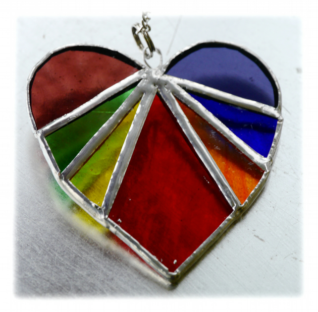 Love Heart Rainbow Stained Glass Suncatcher 8cm 035