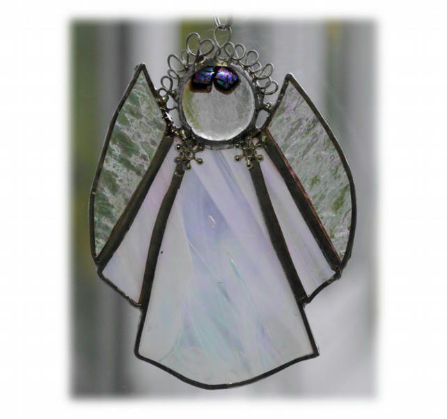 Angel Suncatcher Stained Glass White iridescent Christmas 010