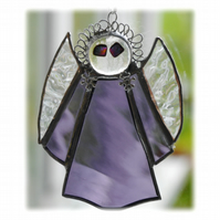 Angel Suncatcher Stained Glass purple textured Christmas 012