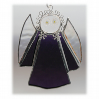 Angel Suncatcher Stained Glass purple textured Christmas 011