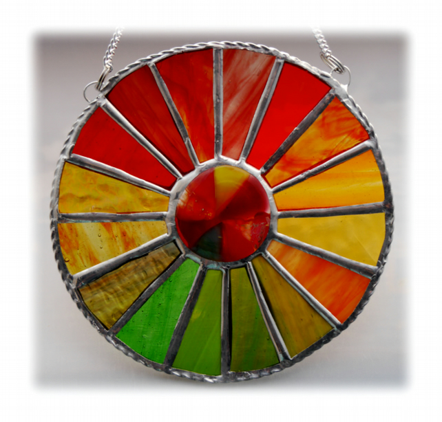 Autumn Equinox Suncatcher Stained Glass Handmade 007