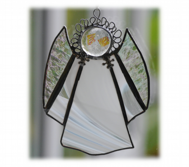 Angel Suncatcher Stained Glass White streaky Christmas 009