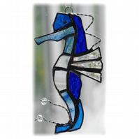 Seahorse Stained Glass Suncatcher Blue Handmade 027