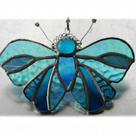 Teal Butterfly Suncatcher Stained Glass Handmade Turquoise 084