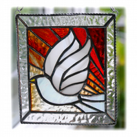 Sunset Dove Stained Glass Picture Suncatcher Handmade