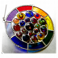 Rainbow Circles Suncatcher Stained Glass Handmade fused 015