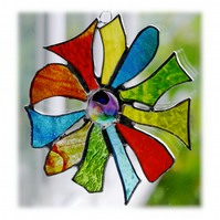 Tropical Flower Suncatcher Stained Glass Dichroic 004