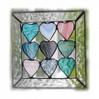 9 of Hearts Suncatcher Stained Glass Framed 011 Pastel