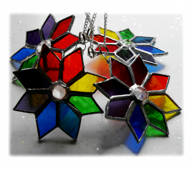 Rainbow Star Suncatcher Stained Glass Tree Decoration 9cm