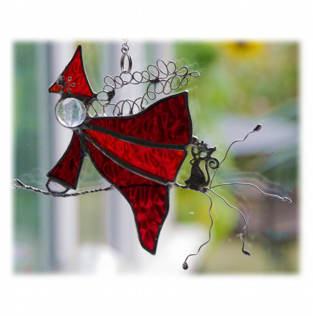 Halloween Witch on Broomstick Suncatcher Stained Glass 043 045 Red