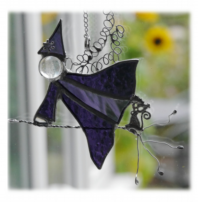 Halloween Witch on Broomstick Suncatcher Stained Glass 041 044 Purple