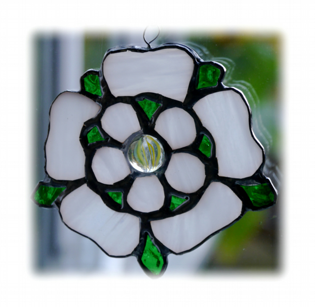Yorkshire Rose Suncatcher Stained Glass 036