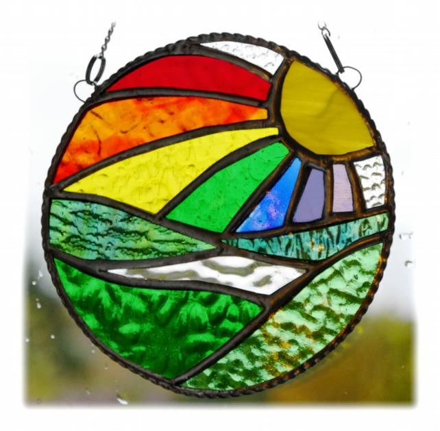 New Day Stained Glass Suncatcher Handmade Rainbow Ring 010