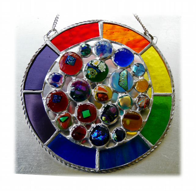 Rainbow Circles Suncatcher Stained Glass Handmade fused 016